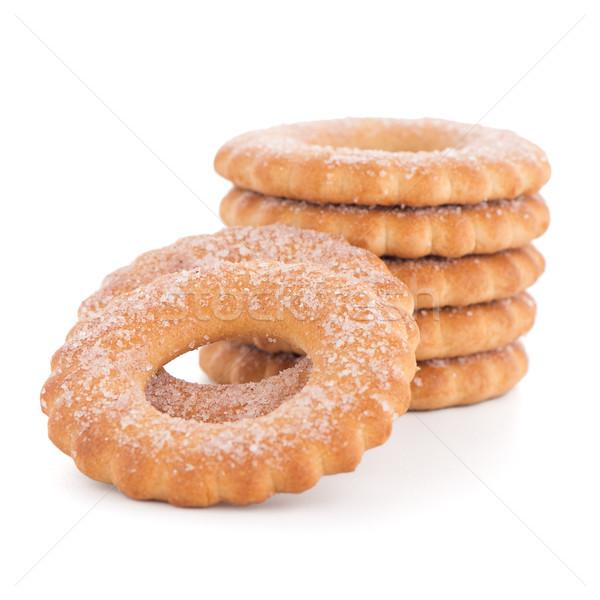 Gyűrűk kekszek köteg izolált fehér étel Stock fotó © homydesign