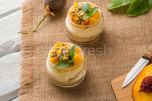 Desert with yogurt and passion fruit Stock photo © homydesign