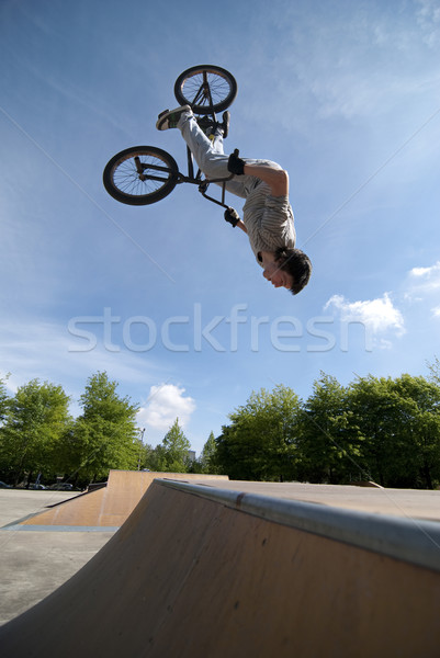 BMX Bike Stunt Back Flip Stock photo © homydesign