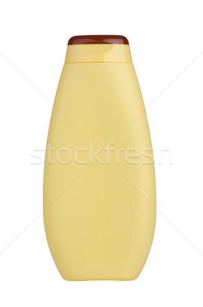 Amarelo xampu garrafa isolado branco corpo Foto stock © homydesign
