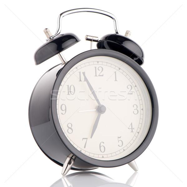 Vecchio stile sveglia bianco mano sfondo tempo Foto d'archivio © homydesign