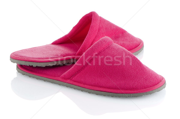 Pár rózsaszín házi cipők fehér ház terv Stock fotó © homydesign