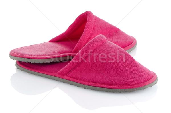 Coppia rosa pantofole bianco casa design Foto d'archivio © homydesign