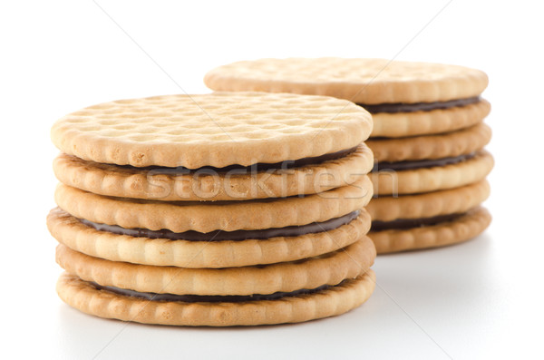 Sandwich biscuits with chocolate filling Stock photo © homydesign