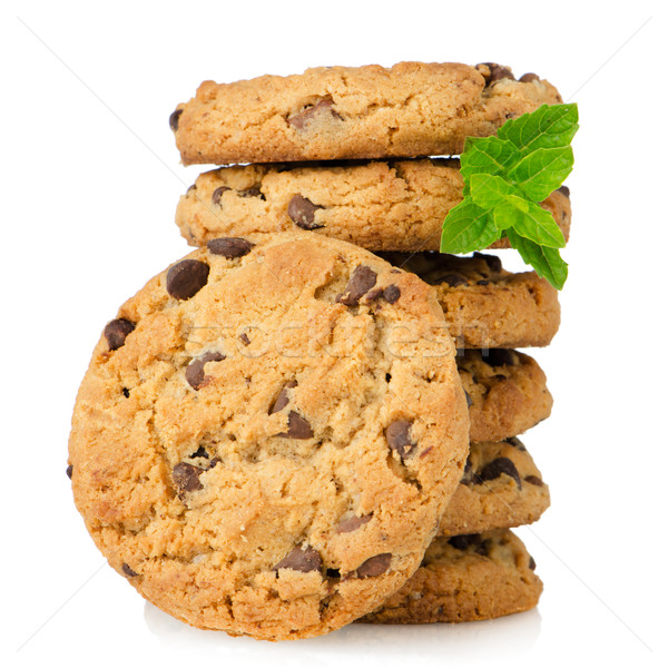 Chocolat puce cookies isolé blanche Photo stock © homydesign