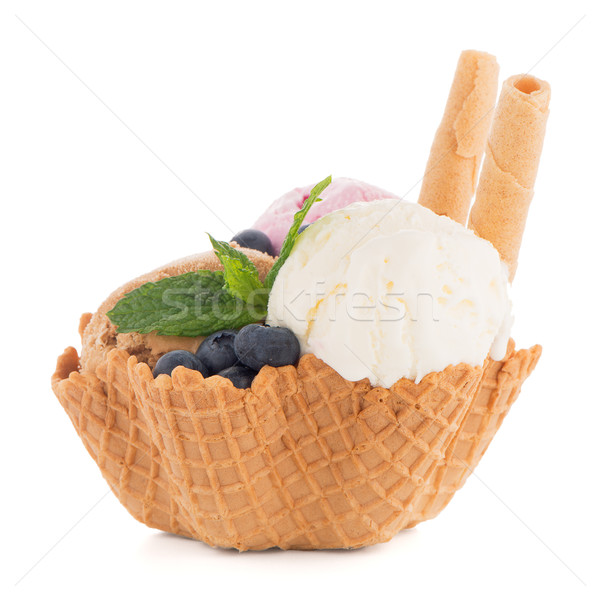 Ice cream scoops in wafer bowl Stock photo © homydesign