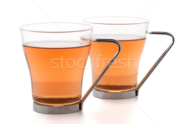 Two glass cups of black tea Stock photo © homydesign