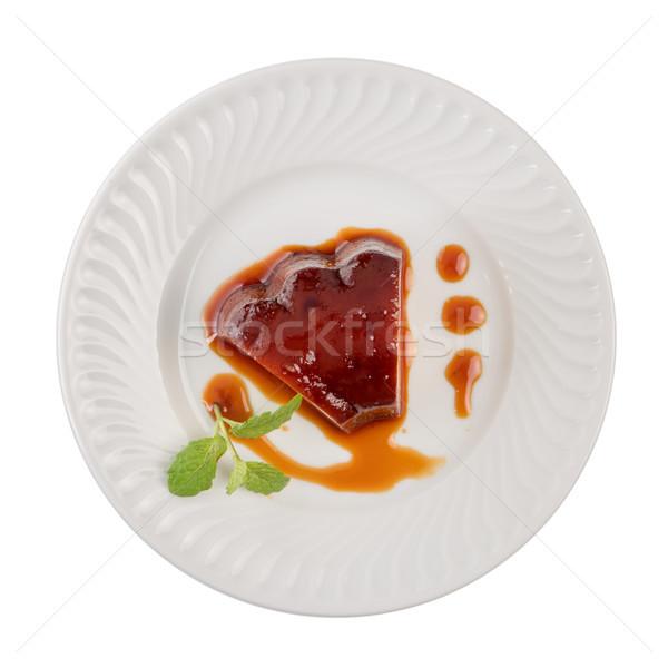 Domowej roboty pudding plaster tablicy biały ceramiczne Zdjęcia stock © homydesign