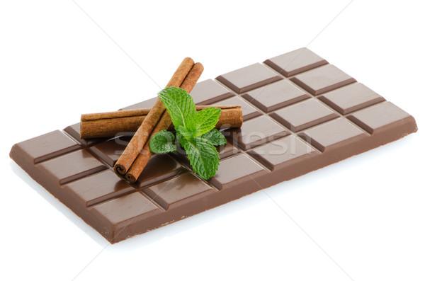 Csokoládé szelet menta levelek fahéj izolált fehér Stock fotó © homydesign