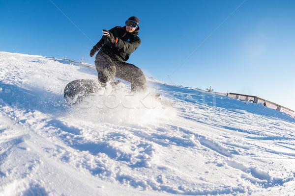 スノーボード 山 太陽 青空 空 ストックフォト © homydesign