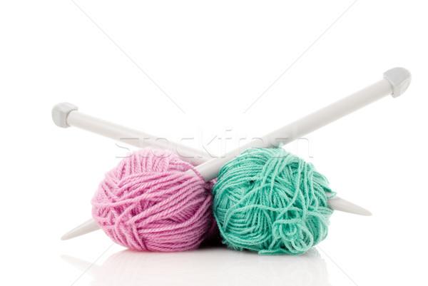 Green and pink  knitting wool Stock photo © homydesign