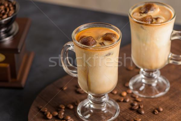 Jeges kávé üveg csokoládé nyár kávézó Stock fotó © homydesign