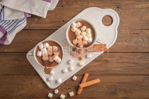 Sıcak çikolata içmek tarçın kahverengi ahşap Stok fotoğraf © homydesign