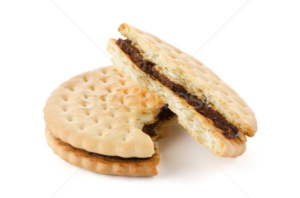 Foto stock: Sándwich · galletas · chocolate · relleno · blanco · roto