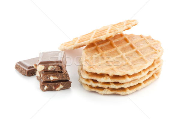 Pile of sweet waffles and chocolate parts Stock photo © homydesign