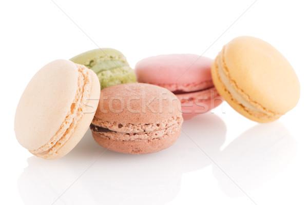 Colorido francês macarons branco comida café Foto stock © homydesign