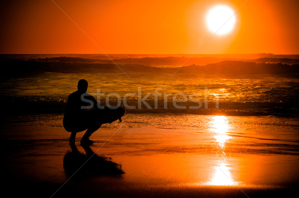 Surfer watching the waves Stock photo © homydesign