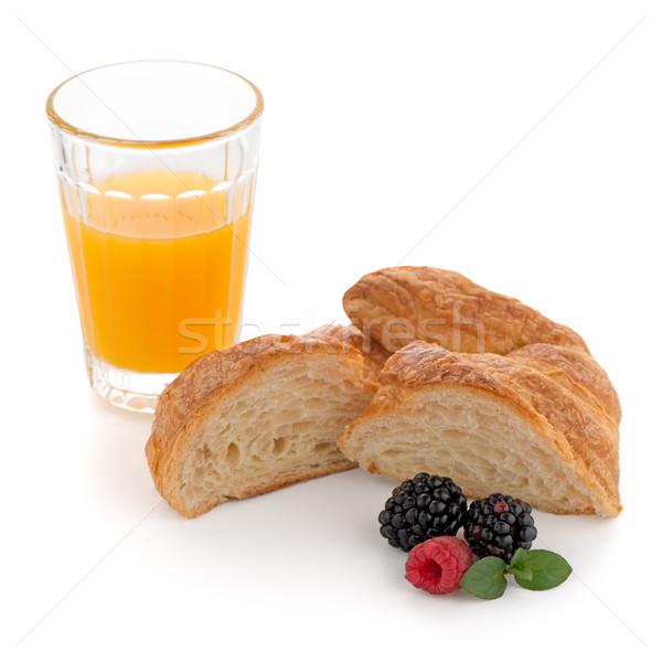 круассан малина стекла апельсиновый сок свежие Сток-фото © homydesign