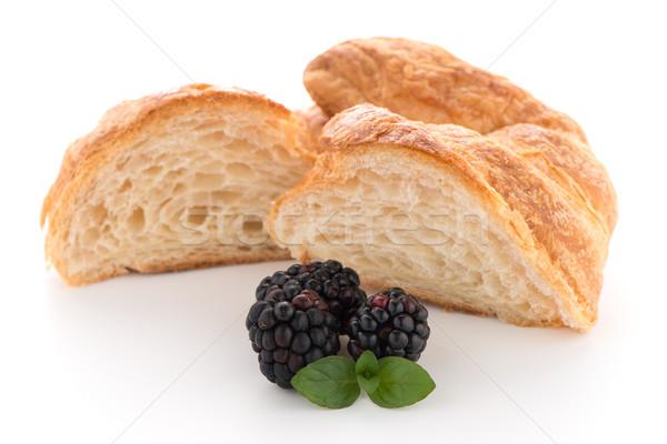 Croissant fresco branco comida café da manhã Foto stock © homydesign
