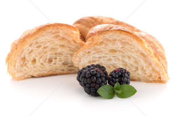 Croissant szeder friss fehér étel reggeli Stock fotó © homydesign