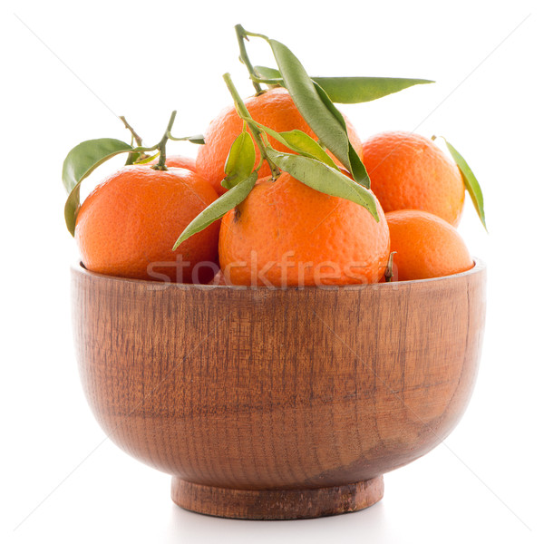 Tangerines on wooden  bowl  Stock photo © homydesign