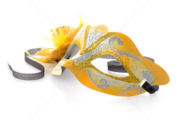 ストックフォト: 2 · 黄色 · ベニスの · マスク · パーティ · 白