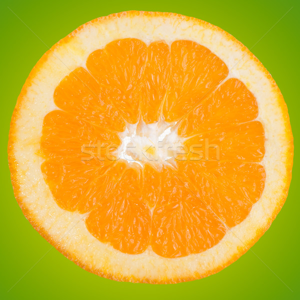 Rodaja de naranja primer plano verde gradiente alimentos frutas Foto stock © homydesign