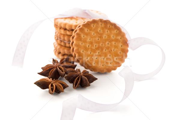 Sandviç bisküvi vanilya doldurma beyaz kahvaltı Stok fotoğraf © homydesign
