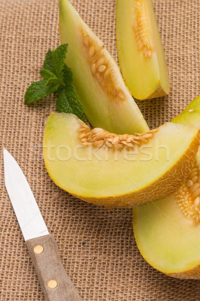 Dinnye lédús fa asztal gyümölcs háttér nyár Stock fotó © homydesign