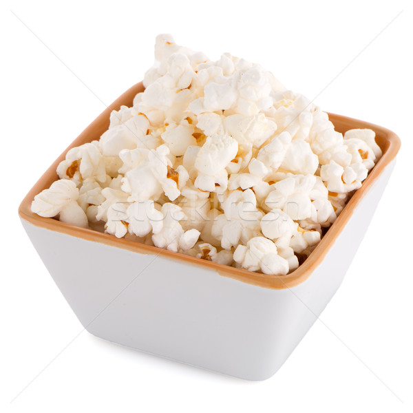 Popcorn in a white bowl Stock photo © homydesign