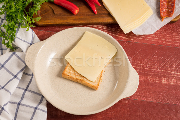 Francesinha on plate preparations Stock photo © homydesign