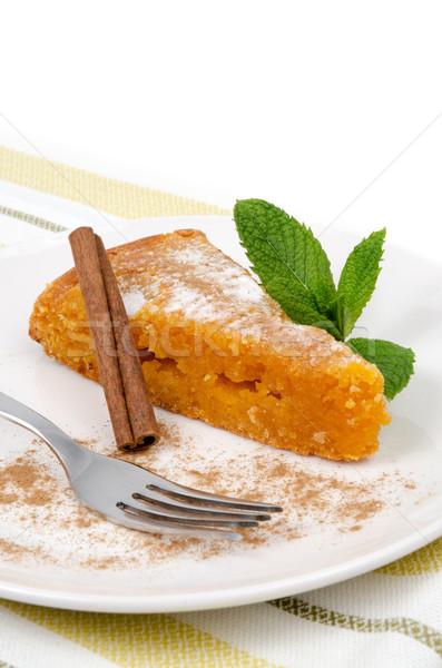 Torta rebanada delicioso cocina casa Foto stock © homydesign