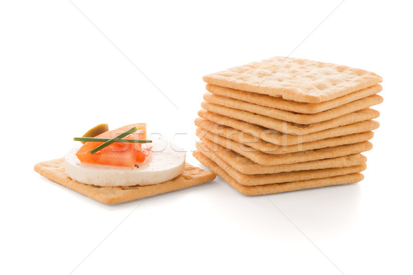 Crackers with cheese and tomato Stock photo © homydesign