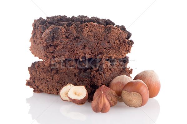 Czekolady deser biały tle ciasto jedzenie Zdjęcia stock © homydesign