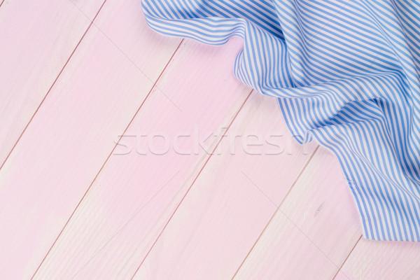 Kék törölköző asztal csíkos felület fa asztal Stock fotó © homydesign