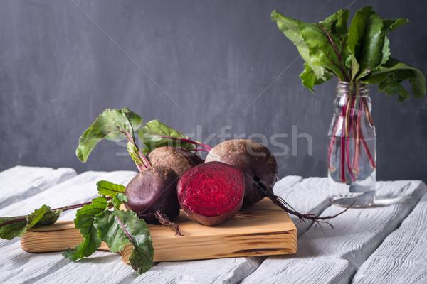 Rustykalny drewniany stół biały malowany zdrowia tle Zdjęcia stock © homydesign