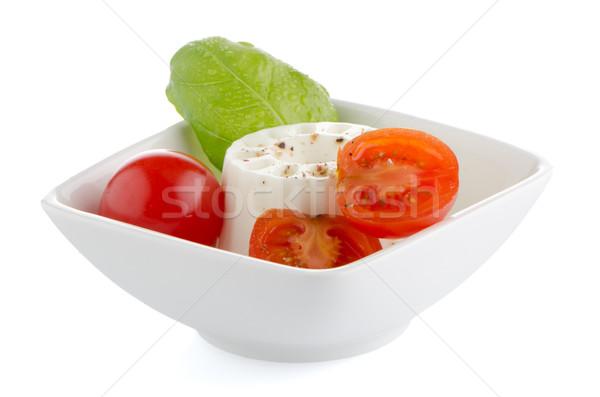 свежие Салат Сыр из козьего молока томатный базилик Сток-фото © homydesign