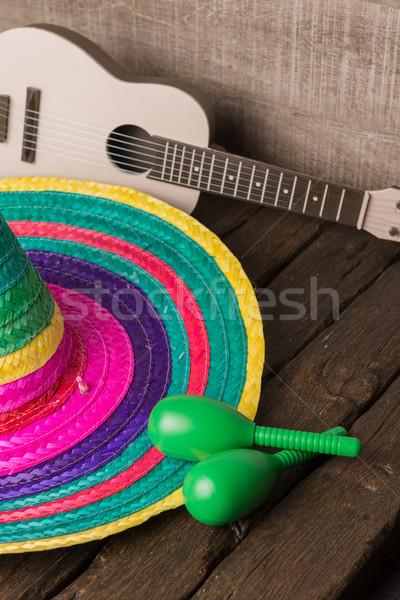 Mexican sombrero on wood background Stock photo © homydesign