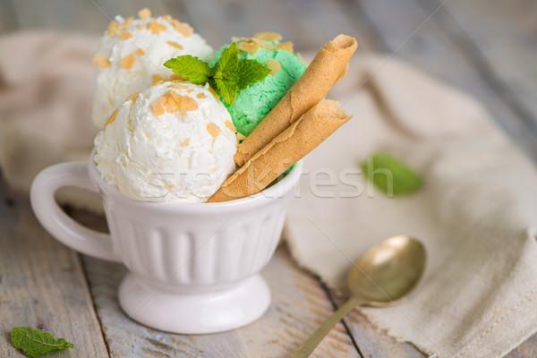 Vanille mint ijs beker houten vintage Stockfoto © homydesign