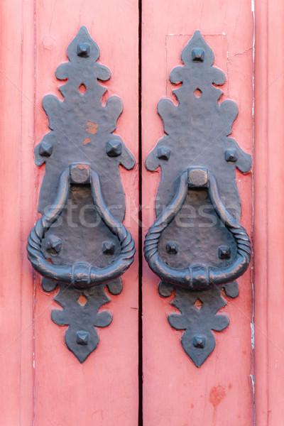 Klasszikus fémes ajtó fekete fából készült piros Stock fotó © homydesign