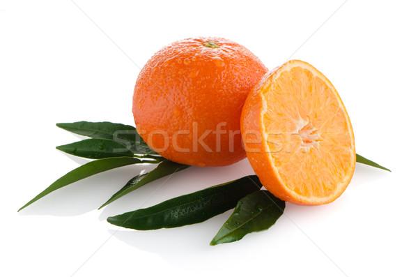 Rijp mandarijn- geïsoleerd witte kruis vruchten Stockfoto © homydesign