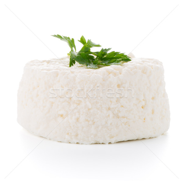 Fromage cottage persil feuille isolé blanche fromages Photo stock © homydesign
