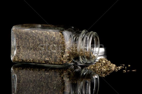 Oregano voedsel glas metaal groene zwarte Stockfoto © homydesign