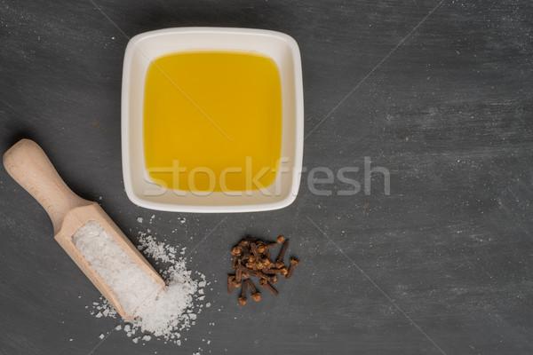 Cozinhar ingredientes cozinha mediterrânea azeite monte alecrim Foto stock © homydesign