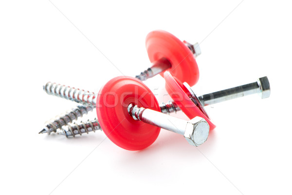 Hexagonal threaded steel bolts or screws Stock photo © homydesign