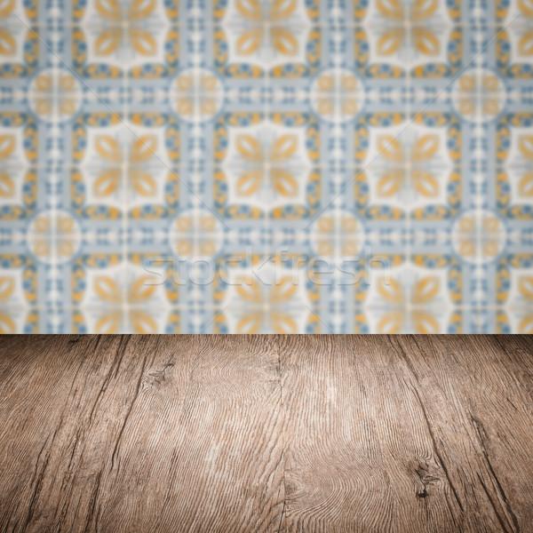 Mesa de madera superior Blur vintage cerámica azulejo Foto stock © homydesign