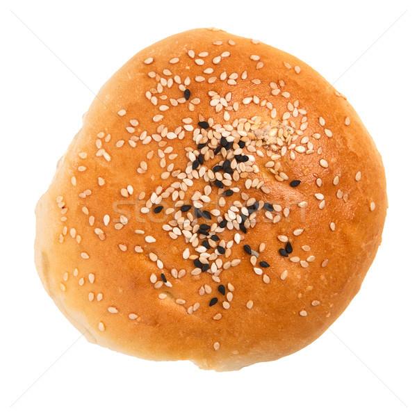 ストックフォト: ハンバーガー · 孤立した · 白 · パン · 肉