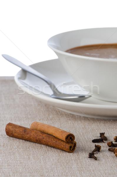 Mus czekoladowy biały puchar łyżka czekolady spadek Zdjęcia stock © homydesign