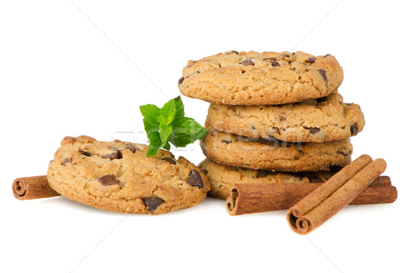 Chocolate cookies with mint leaves Stock photo © homydesign