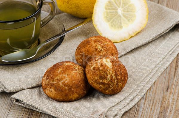 ストックフォト: レモン · 茶 · クッキー · 木製のテーブル · 食品 · 黒